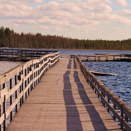 The long pier by Yrjö Jyske - Buildings & Architecture Bridges & Suspended Structures ( canon, water, canon-camera, nature, summer, pier, lake, canon lens, landscape, deep )