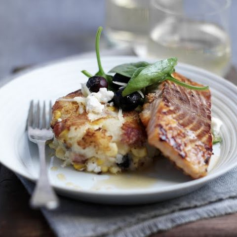 Glazed Salmon with Potato Patties