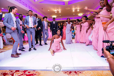 BRIDAL PARTY DOING A DANCEOFF COURTSEY OF DJ-BLITZ