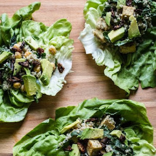 Caesar Lettuce Wraps with Quinoa, Kale and Tofu