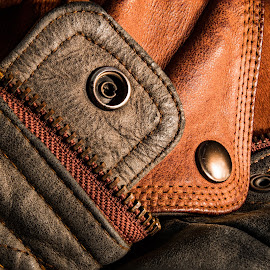 by Ronny Mariano - Artistic Objects Clothing & Accessories ( jacket, macro, snaps, color, colors, extension tubes, 2016, zipper, brown, close up, leather,  )