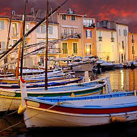 Martigues - Les barques du miroir by Gérard CHATENET - City,  Street & Park  Street Scenes