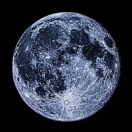 Blue Moon in July by Julie Wooden - Digital Art Places ( partly cloudy, isolated, moon, north dakota, hebron, night time, blue moon, landscape, sky, nature, blue, digital art, outdoors, astrology, summer, night, full moon, scenery, night sky, skyscape,  )