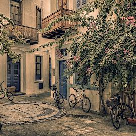 Nysiros old times by Murat Besbudak - City,  Street & Park  Street Scenes ( blue, street, greece, sea, nysiros, island )