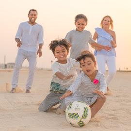 Beach Family Fun by Kapil Giri - People Family ( goldenhour, beach, sunset, enjoy, action, familytime, pictureperfect, family, fun, beachfun, moment,  )