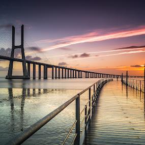 Sunrise in Lisbon ! - Portugal by Emanuel Fernandes - Landscapes Sunsets & Sunrises ( clouds, http://emanuelphoto.wix.com/foto, sky, lisbon, portugal, bridge )