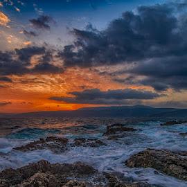 rocks&waves by Enver Karanfil - Landscapes Sunsets & Sunrises ( waves, red, rocks, sunset, clouds, sea )