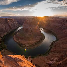 Horseshoe Bend near Page Arizona by Chris Bartell - Landscapes Waterscapes ( page, arizona, horseshoe bend, rocks, sun, river )