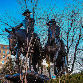 Range Riders Mount Up by James Martinez - City,  Street & Park  Historic Districts ( statue, park, sunrise, cityscape )