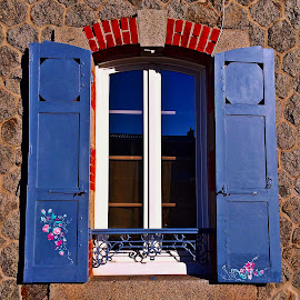 Window by Dobrin Anca - Buildings & Architecture Architectural Detail ( window, decoration, street, brittany, flowers )