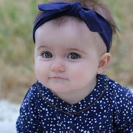 Sweet Ellie by Kari McClure Webb - Babies & Children Babies ( big eyes, blue, outdoors, baby girl, baby, smile, eyes,  )