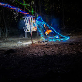 Night Frolf by William Rogers - Abstract Light Painting ( par, disc golf, light painting, led, franklin ma, long exposure )