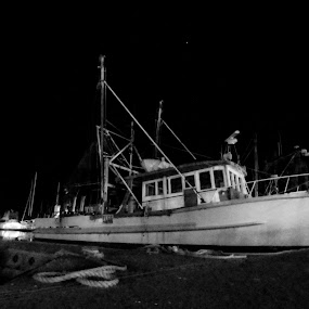 Awaiting the next shift by Mark Luyt - Transportation Boats ( nighttime, harbour, blackandwhite, fishing boat, black and white, night photography )