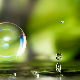 Bubble saga by Elvis Pažin - Abstract Water Drops & Splashes ( macro, waterdrop, soap bubble, green, drops, bubbles )