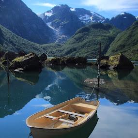 Bondhuslake in front of Bondhus Glacier  Norway by Geert Vanhaverbeke - Transportation Boats ( glacier, refleciont, lake, boat, norway, bondhus )
