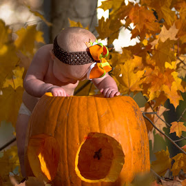 Anyone There by Bob White - Babies & Children Babies ( potrait, babies, color, fall, pumpkins, cute, leaves,  )