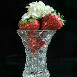 Strawberry Whipcream by Jim Downey - Food & Drink Candy & Dessert ( red, whip cream, green, strawberries, white, glass, black )