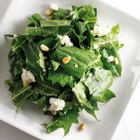 Warm Dandelion Greens with Roasted Garlic Dressing