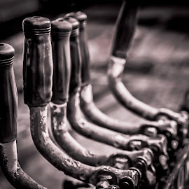 Levers by Anthony Balzarini - Black & White Objects & Still Life ( #handles, #industrial, #levers, #photography, #blackandwhite )