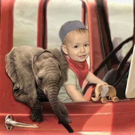My forever friend  by Kathryn Potempski - Digital Art People ( imagery, truck, elephant, digital manipulation, child portrait, digital painting, imagination, child, red, digital art, childhood, digital photography, boy, boyhood )