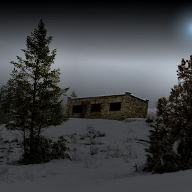 Fairmont B.C by Leslie Collins - Digital Art Places ( old buiding, sky, snow, digital art, trees, night, landscape, place )