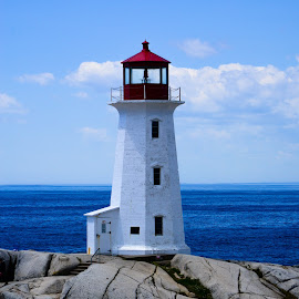 Lighthouse at Peggy's Cove by Stephen Chandler - Landscapes Travel ( nova scotia, canada, navigation, shoreline, lighthouse )