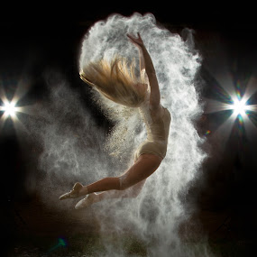 Katie's Leap by SumPics Photography - People Portraits of Women ( flash, buy-canvas-art, buy-photo-on-canvas, northwest arkansas, blog, photography, lights, sumpics.com, flying, woman, photographer, flying hair, dancer, photo-print, artphoto, photo, buy-art-photos, blonde, dust, art-photography, leaping, flare, dance, athletic, strobe )