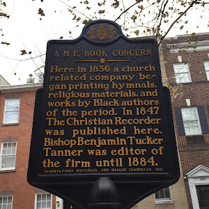 Here in 1836 a church related company began printing hymnals, religious materials, and works by Black authors of the period. In 1847 The Christian Recorder was published here. Bishop Benjamin Tucker ...