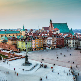 Warsaw old town at dawn by Adrian Ioan Ciulea - City,  Street & Park  Historic Districts ( city scape, dawn, colors, buildings, old town, historic district, palace, plaza, city )
