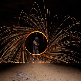 Fire spin by Chris Taylor - Abstract Fire & Fireworks ( abstract, spinning, spinning fire, long exposure, fire )