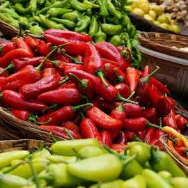 Say chillies by Brij Naik - Food & Drink Fruits & Vegetables ( chillies, red, market, food, green, street, sunday, morning, vegetable )