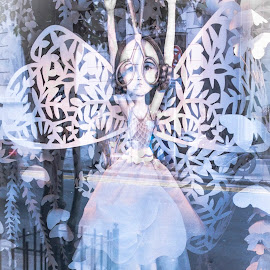 Urban Fairy by Venetia Featherstone-Witty - Artistic Objects Other Objects ( abstract, pastels, window, fairy, reflections )