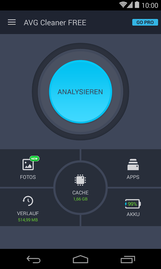 AVG Reinigungsapp & Akku Sparen (Android/Deutsch) – Screenshot