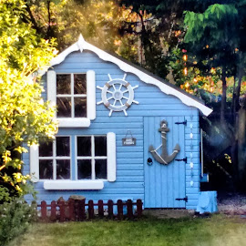 Wooden kids house by Louisa Clarke - Buildings & Architecture Homes ( blue, boathouse, wooden house, kids, den, playhouse, garden flower )