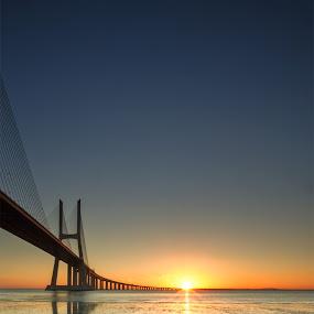 Vasco De Gamma Bridge Sunrise by Brens Photo's - Buildings & Architecture Bridges & Suspended Structures ( portigal, lisbon, sunrise, bridge, vasco de gamma )