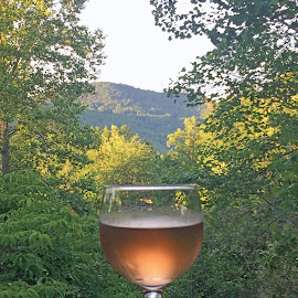 Relaxing in the Mountains by Deena Westberry - Food & Drink Alcohol & Drinks ( wine, mountains, wine glass, georgia mountains, relaxing )