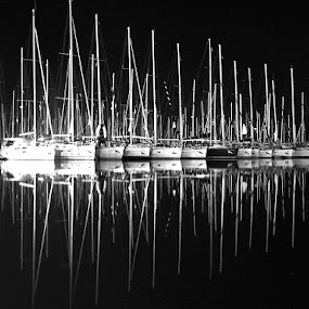 Reflection of the soul by Marc-Antoine Kikano - Landscapes Waterscapes ( mirror, blackandwhite, reflection, sailboats, sailing, bw, sea )