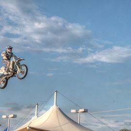 Robbie Knievel by Michael McMurray - Sports & Fitness Motorsports ( flying, knievel, robbie knievel, car jump, performer, motorcycle, stunt jump, stunt, daredevil, jump )