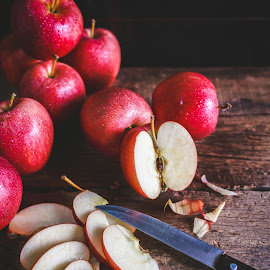 Red Apples by TaTu Thai - Food & Drink Fruits & Vegetables ( plant, bamboo, weight, stilllife, wood, diet, paper, tropical, vietnamese, rustic, asian, farm, dieting, oldwood, fresh, care, dark, asia, light, fruit, low key, vietnam, farming, lose, pure, nutrition, red, fineart, apple, food, background, traitao, basket, healthy, traicay, vitamin, natural )
