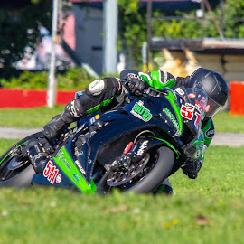 Green Machine by Yves Sansoucy - Sports & Fitness Motorsports ( motor, green, helmet, motor bike, bike )