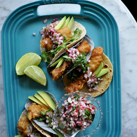 Beer-Battered Fish Tacos with Radish Pico de Gallo