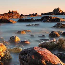 Heybrook Bay Sunset by Martin Arscott - Landscapes Sunsets & Sunrises ( sunset, heybrook bay, beach, seascape, rocks, golden hour )