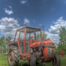 Red dragon :) by Darko Žgela - Transportation Other ( red, sky, hdr, tractor, photo )