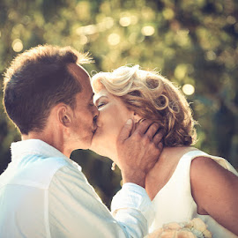 First Kiss by Andrew Morgan - Wedding Bride & Groom ( love, kiss, zanzibar, dream, wedding, happiness )