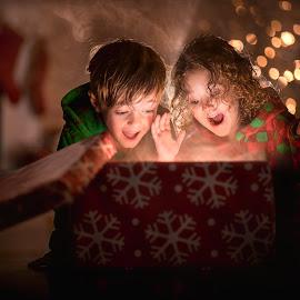 Christmas Magic by Mike DeMicco - Public Holidays Christmas ( pajamas, gift, xmas, christmas, children, kids, siblings, cute, glow, bokeh, smoke, love, present, open, magic, sweet, happy, box, light )