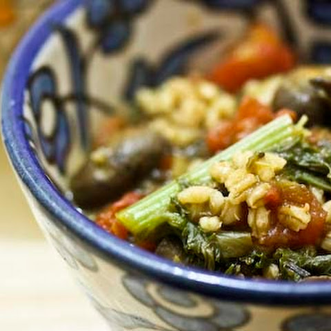 Barley Stew with Leeks, Mushrooms and Greens