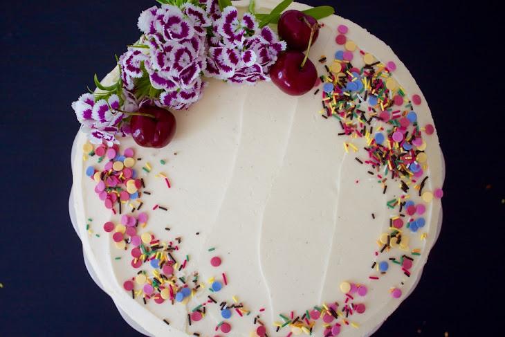 Vegan Cherry Birthday Cake with White Chocolate Frosting Recipe ...