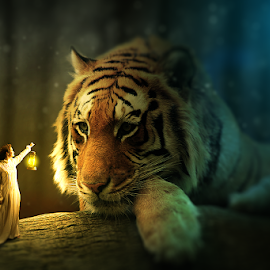 Photo Manipulation Tiger by Pak Polisi - Digital Art Animals ( lights, tiger, photo manipulation, edit )