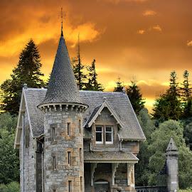 Fairytale Castle by Sandra Cockayne - Digital Art Places ( scotland, scottish castle, sandi cockayne, scottish, architecture, scenic, dramatic sky, skies, country, gamekeepers lodge, gatelodge, sunset, sandra cockayne, scottish scenery, castle, scenery, lodge, estate )