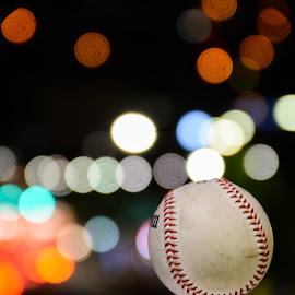 Real strike by Iordan Daniel Teodorescu - Sports & Fitness Baseball ( lights, ball, baseball, focus, night )